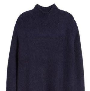 Caslon Mock Neck Tunic Sweater Navy Peacoat Size M